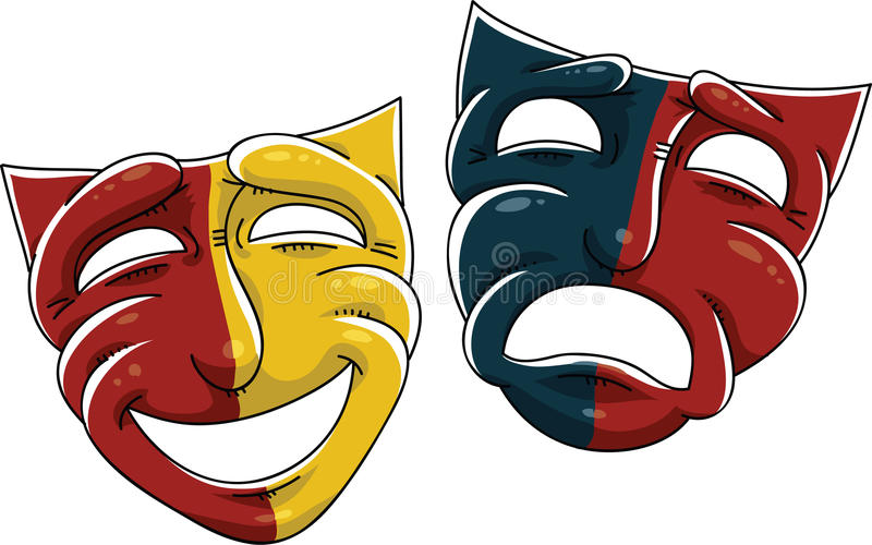 Drama Masks. Cartoon drama masks of the theatre stock illustration