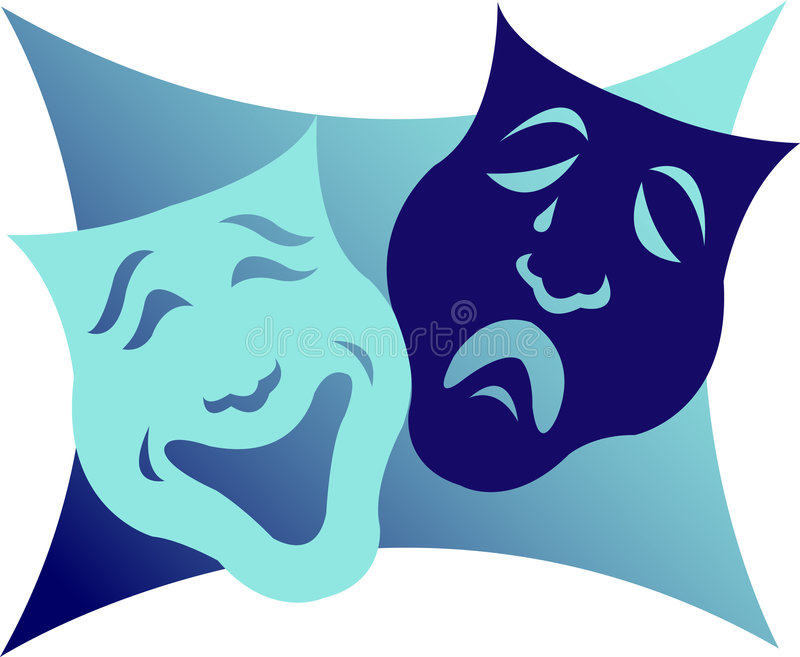 Drama Masks/eps. Illustration of comedy and tragedy masks which are a symbol for the theater. Want to change the colors? eps file is available