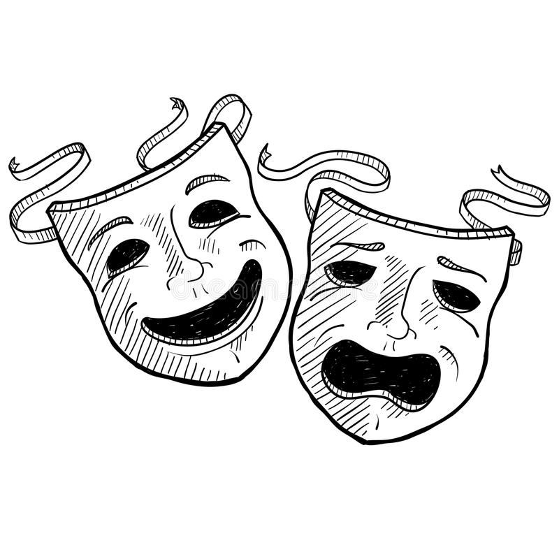 Drama masks sketch. Doodle style drama or theater masks illustration in vector format suitable for web, print, or advertising use stock illustration