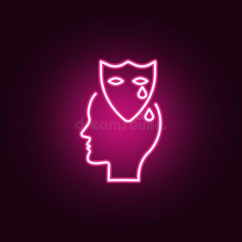 Drama sinnesrörelse, huvudneonsymbol Beståndsdelar av idérikt uppsättningen för tänka Enkel symbol för websites, rengöringsdukdes stock illustrationer