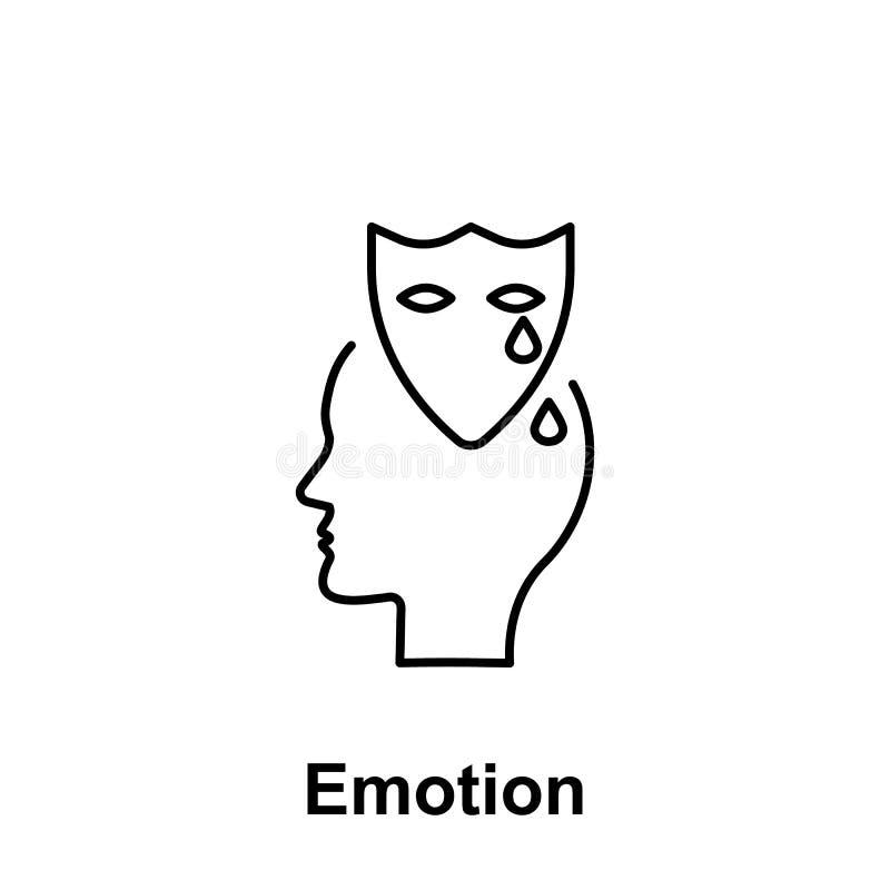 Drama sinnesrörelse, huvudsymbol Beståndsdel av det idérika namnet för thinkinsymbolswitn Tunn linje symbol för websitedesignen o stock illustrationer