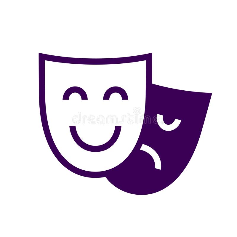 Drama theatre masks icon. Vector illustration isolated on white background royalty free illustration