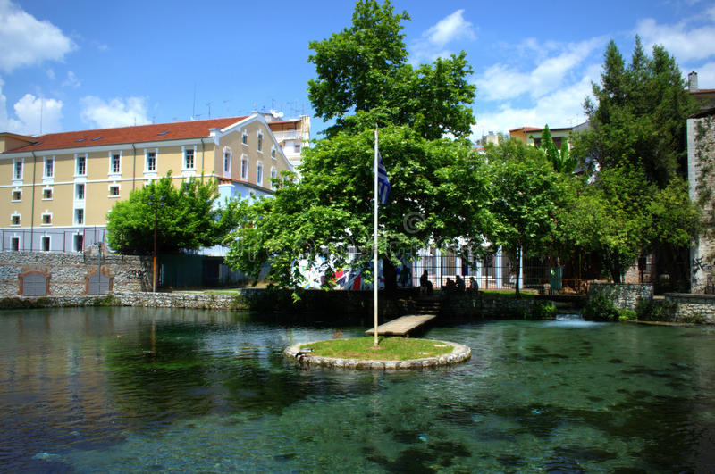 Drama town view,Greece. The springs of Agia Varvara in Drama town park,Greece royalty free stock photography