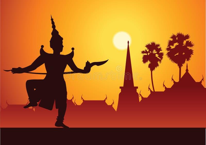 Dramakonst för traditionell dans av thailändskt maskerat klassiskt Thailändskt ancien stock illustrationer