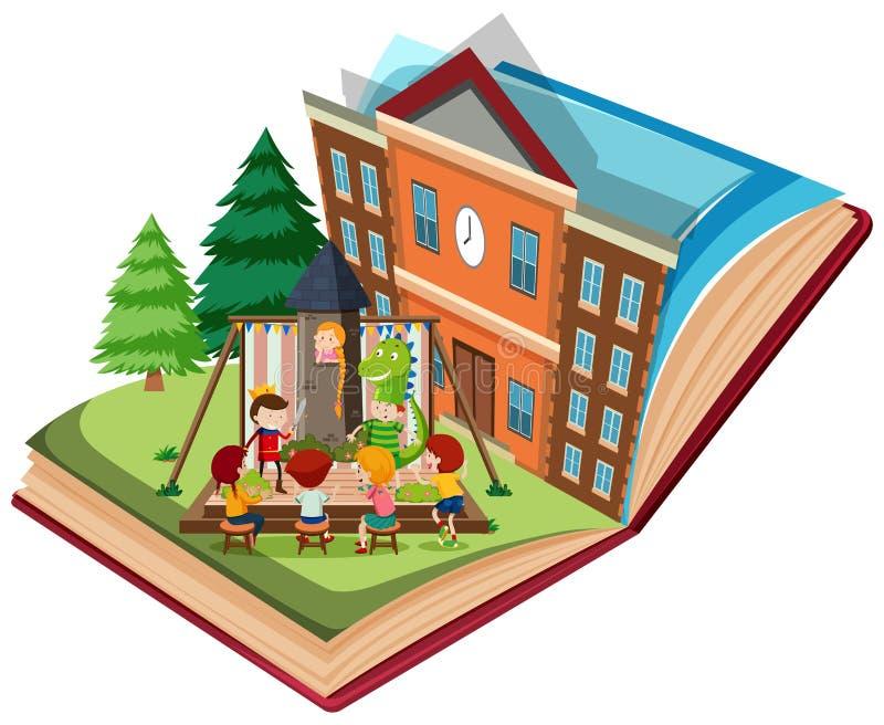 Dramalek på skola på den öppna boken stock illustrationer