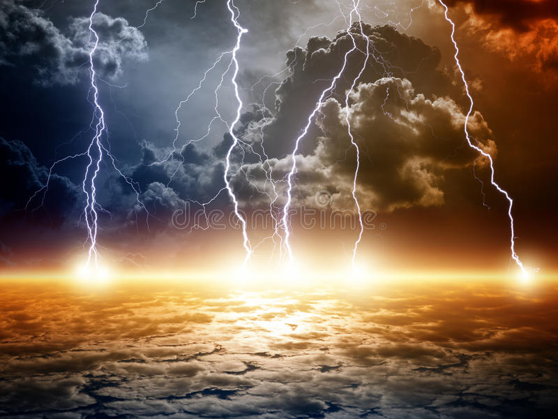 Dramatic apocalyptic background. End of world, bright lightnings, armageddon stock photography