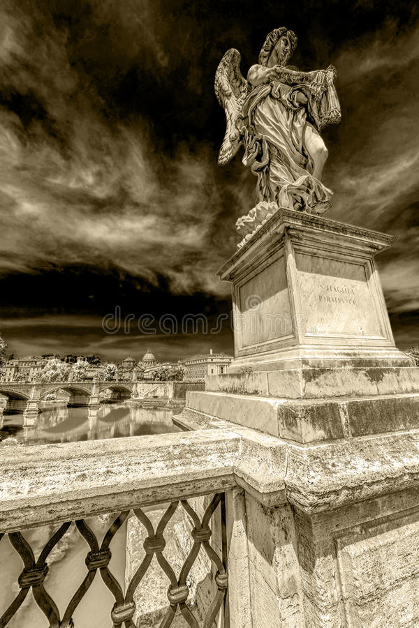 Dramatic atmosphere with statue of Angel from Angel`s Bridge. ROME, ITALY - JUNE 1, 2017: Dramatic atmosphere with statue of Angel from Angel`s Bridge by stock photography
