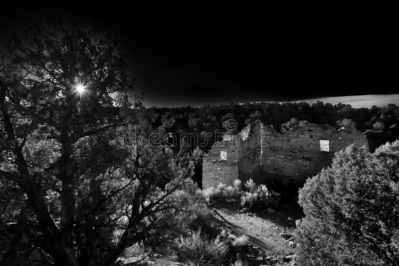 Dramatic B&W Ancestral Puebloan Anasazi Hovenweep Ruin. A dramatic turn of the century style photograph of Cutthroat Castle in Hovenweep National Monument. A royalty free stock photos