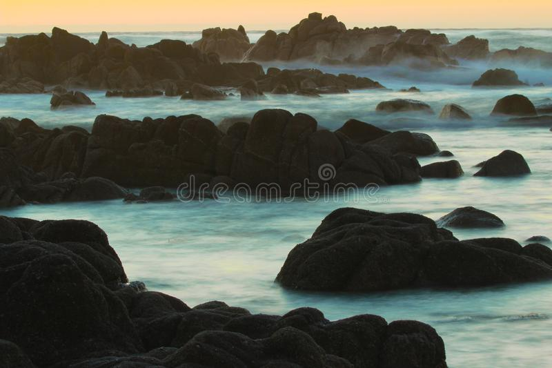 Sunset over Pacific Ocean in Pacific Grove, near 17 mile drive and Monterey, California stock images