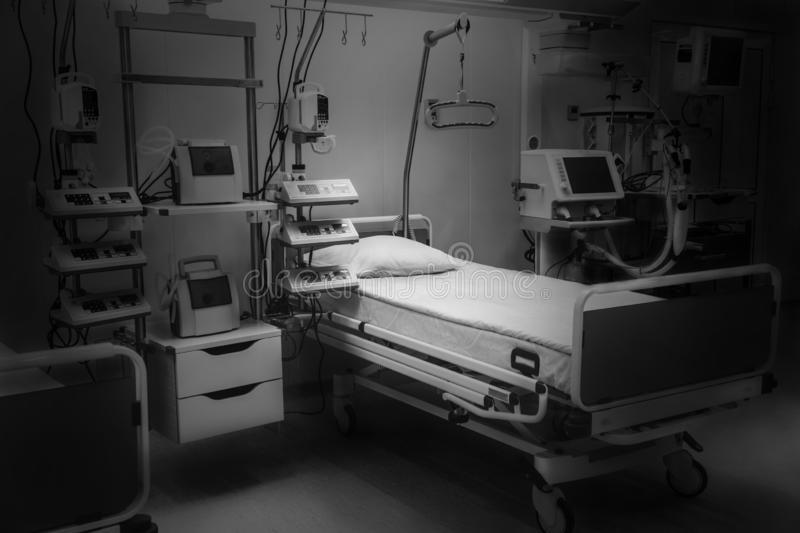 Dramatic black and white. hospital emergency room intensive care. modern equipment, concept of healthy medicine, treatment, royalty free stock images