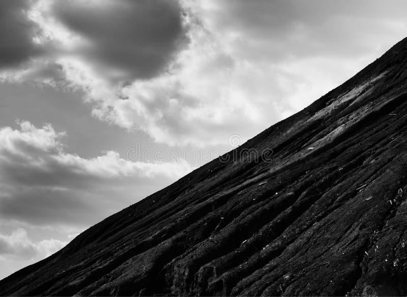 Dramatic black and white mountain slope landscape background. Hd stock photo
