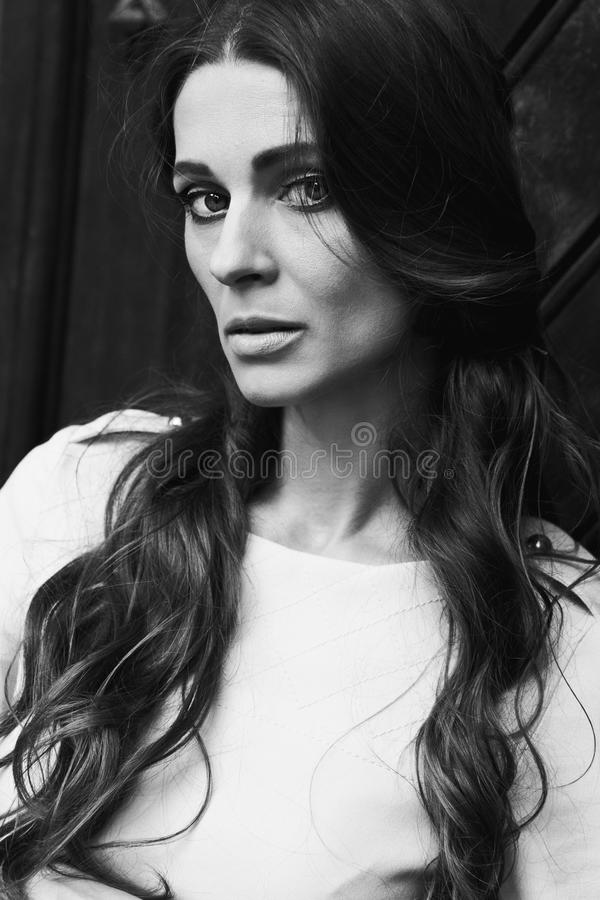 Dramatic black and white portrait royalty free stock photos