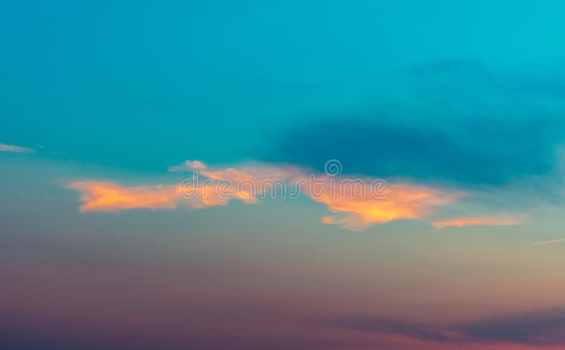 Dramatic blue and purple sky and clouds abstract background. Blue-purple clouds on sunset sky. Warm weather background. Art. Picture of sky at dusk. Beautiful royalty free stock photos