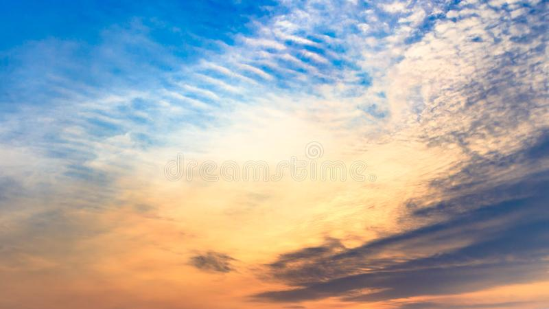 Dramatic blue sky and clouds at sunset or evening time. Nature sunset sky background stock images