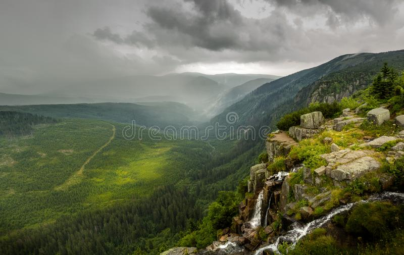 Dramatic change of summer weather in mountains royalty free stock photos