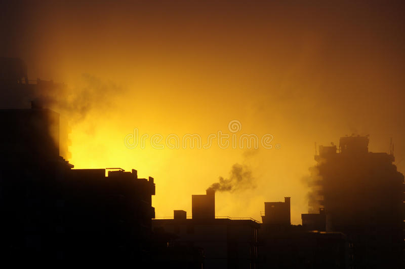 Dramatic city sunrise 1. Dramatic sunrise in Vancouver, British Columbia stock image