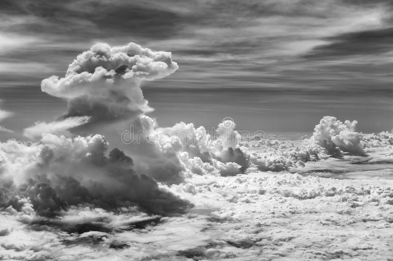 Dramatic Cloud in Black and White Color stock photography