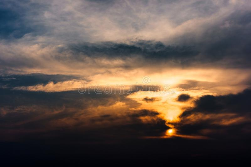 Dramatic cloud shapes like vortex royalty free stock photography