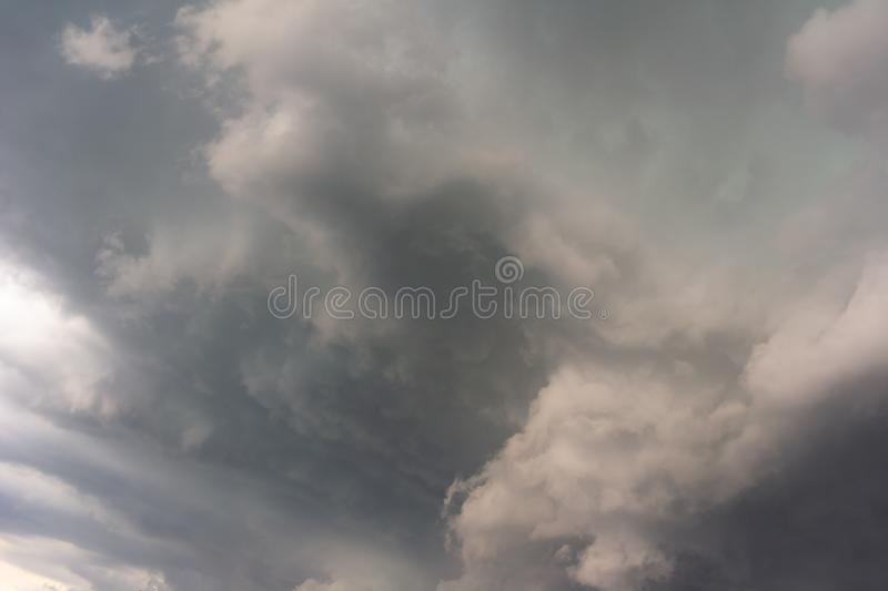 Dramatic cloud and stormy cloudy sky before storm stock image