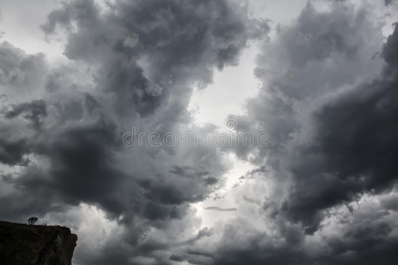 Dramatic dangerous clouds thunderstorm rain bad weather stock images