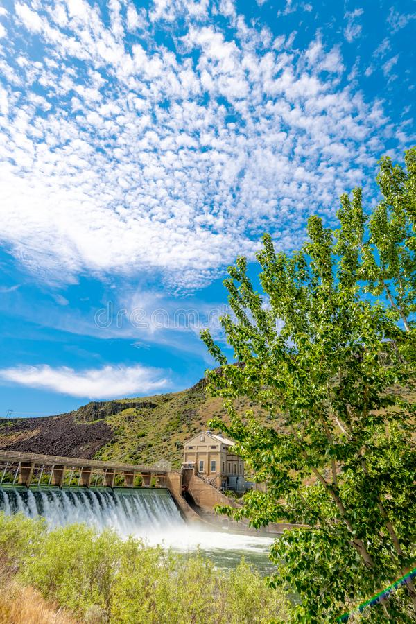 Dramatic clouds hoover in the sky over the Boise River Diversion Dam stock image