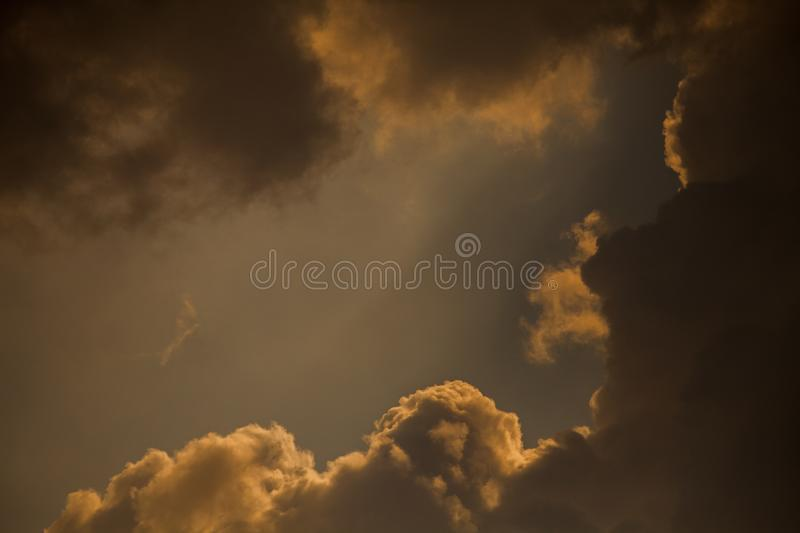 Dramatic clouds on sky royalty free stock photo