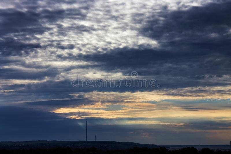 Dramatic cloudy sky at sunset. royalty free stock photography