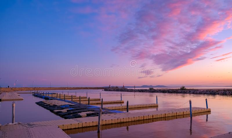 Dramatic colorful sunset over the bay of Roses royalty free stock image