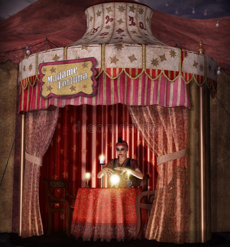 Dramatic concept of a mystic, female Gypsy fortune teller with a lighted crystal ball in her tent, realistic 3d render royalty free illustration