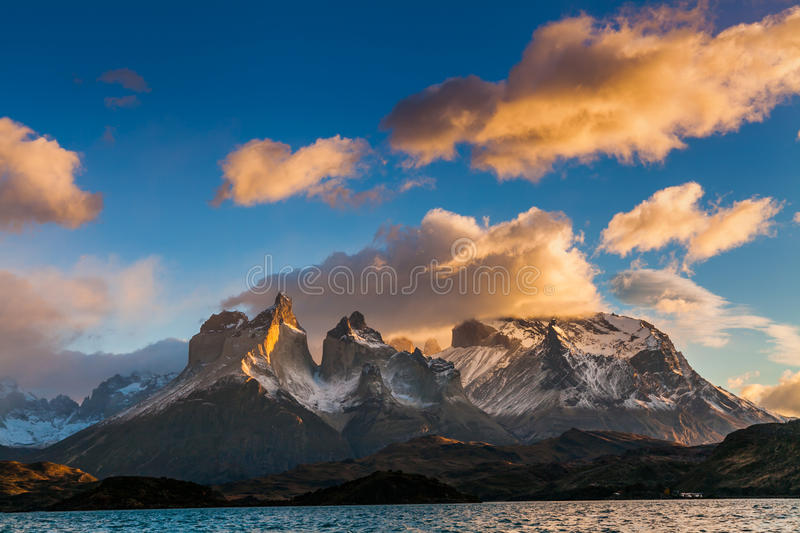 Dramatic dawn in Torres del Paine, Chile royalty free stock photography