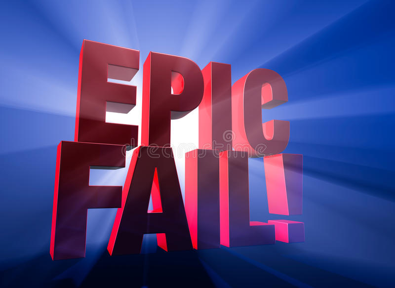 Dramatic, Epic Fail stock illustration