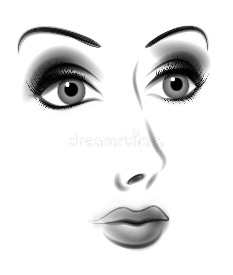 Dramatic Face of Woman BW stock illustration