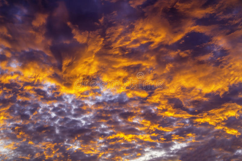 Dramatic fiery sky. Dramatic fiery of sky in nature background stock image