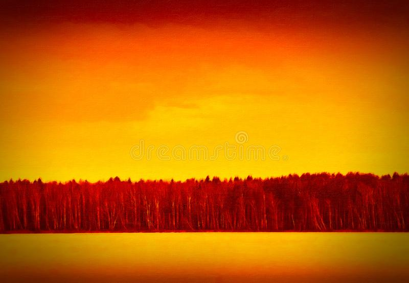 Dramatic forest on river horizon painting royalty free stock photo