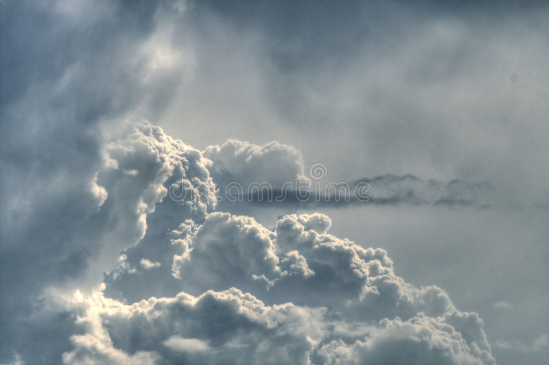 Dramatic grey fluffy sky royalty free stock images