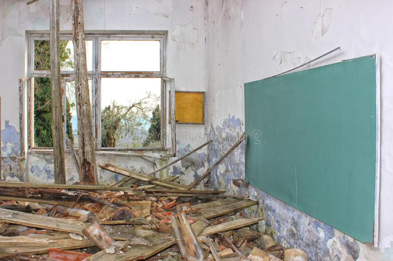 Dramatic image of forgotten, destroyed, abandoned school royalty free stock images