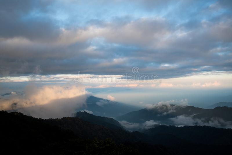 Dramatic landscape with colorful from sunlight at Sandakphu stock images