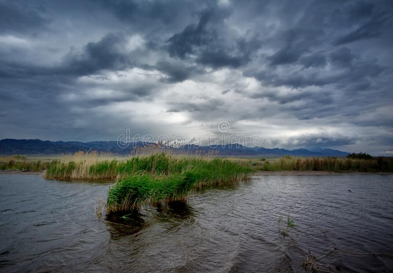 dramatic landscape on the lake, best view stock photography