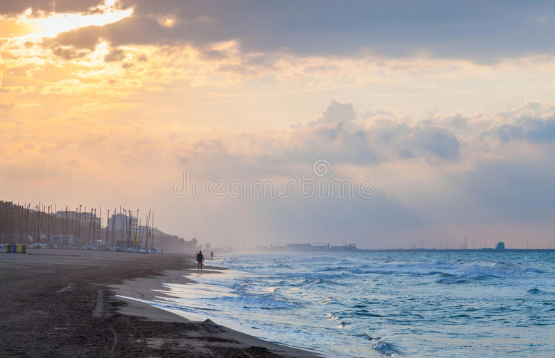 Dramatic landscape, sea coast at sunset stock photos