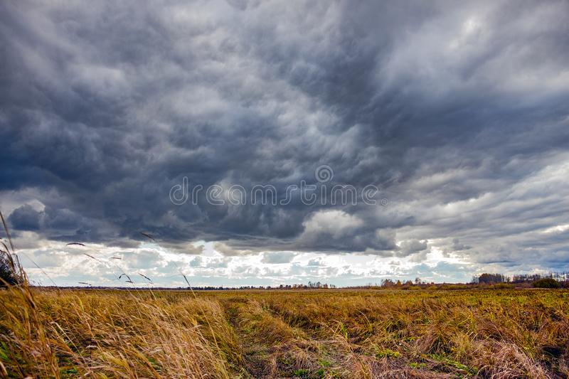 Dramatic Landscape with storm clouds royalty free stock images