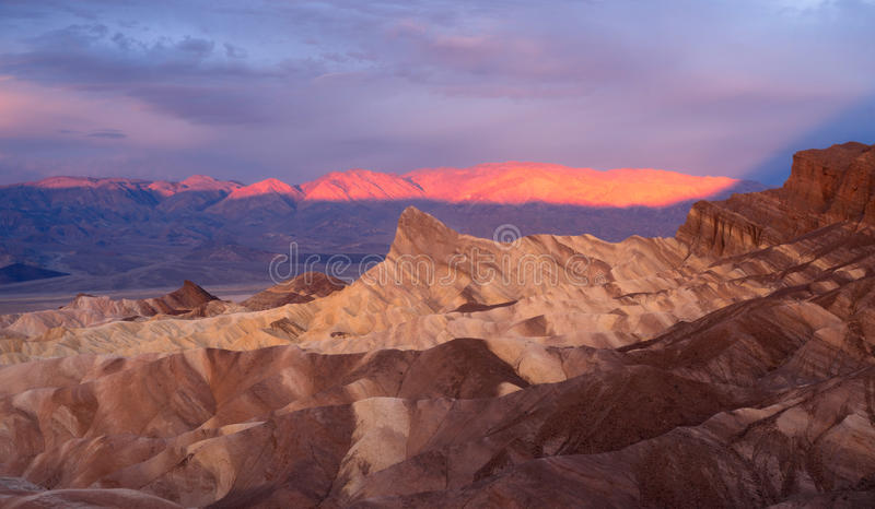 Dramatic Light Badlands Amargosa Mountain Range Death Valley Zabriskie stock images