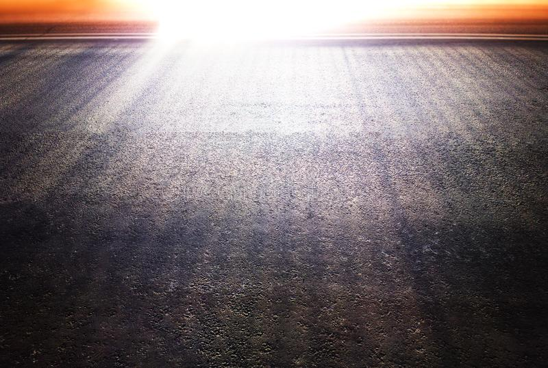 Dramatic light rays over transportation road background royalty free stock image