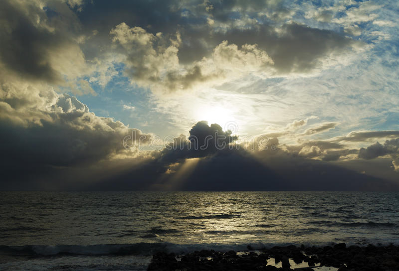 Dramatic Light with Sun Rays and Heavy Clouds. Above Mediterranean Sea near Caesarea Maritima, Israel royalty free stock photos