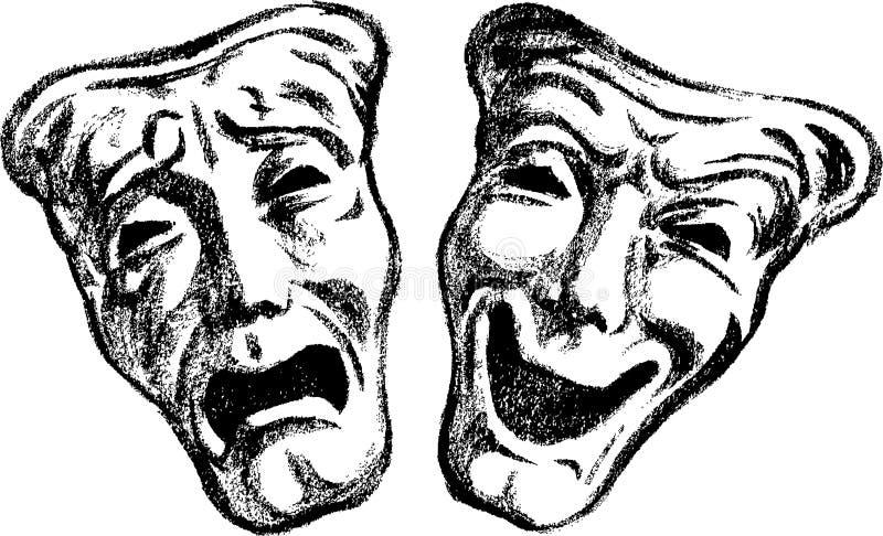 Dramatic masks stock illustration