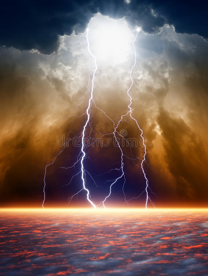 Dramatic moody sky. Dramatic apocalyptic background, end of world, bright lightnings, light from above, armageddon stock images