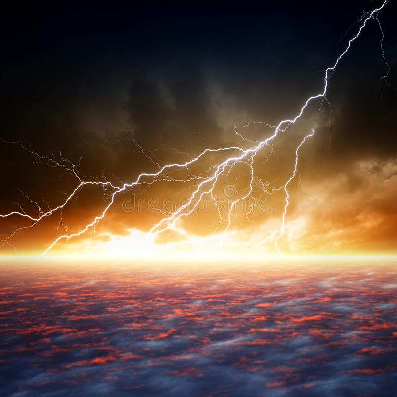 Dramatic moody sky. Dramatic apocalyptic background, end of world, bright lightnings, armageddon, hell royalty free stock photography
