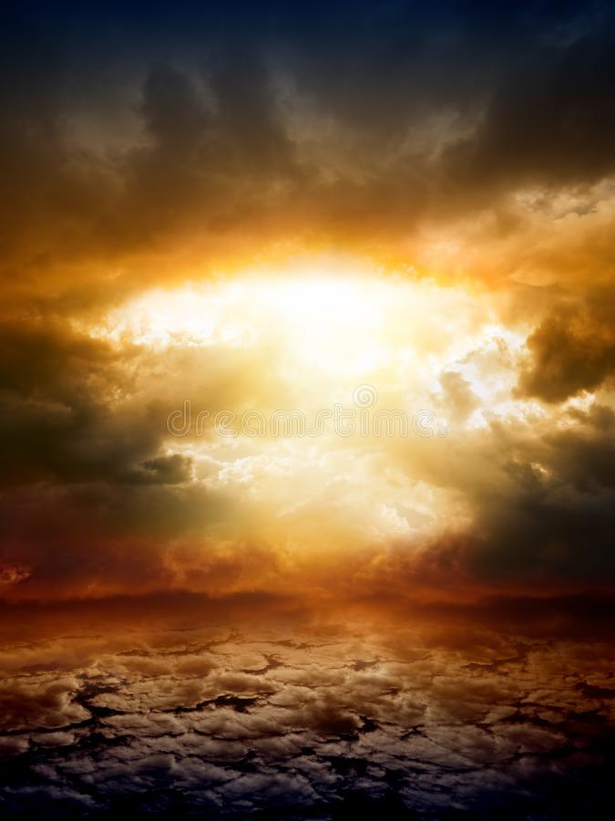 Dramatic nature background. Dramatic apocalyptic background, mayan end of world, red sunset, armageddon, hell, big explosion stock image