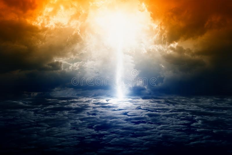 Dramatic nature background. Dramatic apocalyptic background, mayan end of world, bright lightning, armageddon royalty free stock image