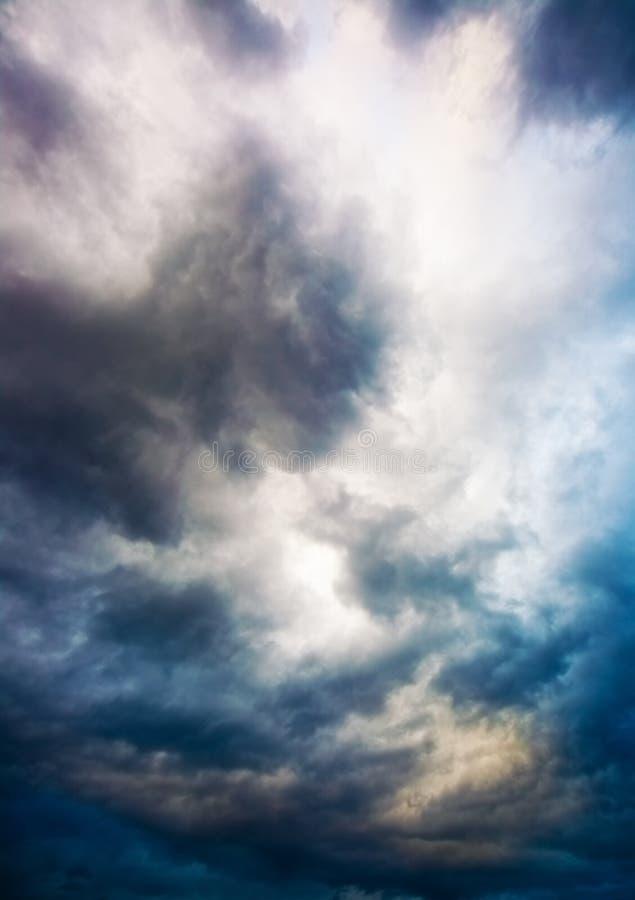 Dramatic overcast sky. Multi colors stock image