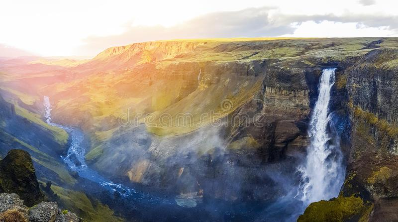 Dramatic overview of Waterfall Haifoss in Iceland, ultra wide pa stock photos